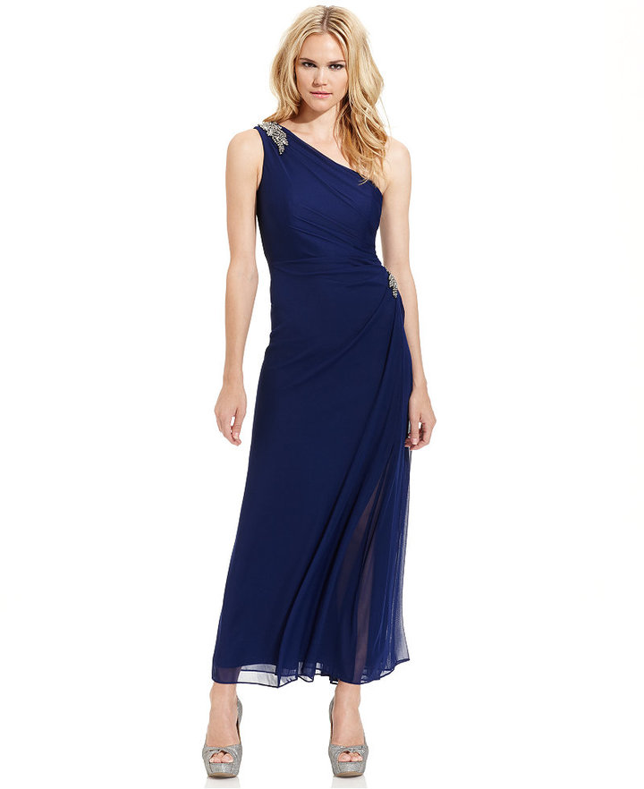 Alex Evenings Dress Sleeveless One Shoulder Draped Gown | Where to ...