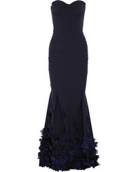 Nina Ricci Floral Appliqud Strapless Taffeta Gown