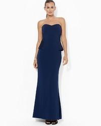 Lauren Ralph Lauren Gown Strapless Beaded Crepe