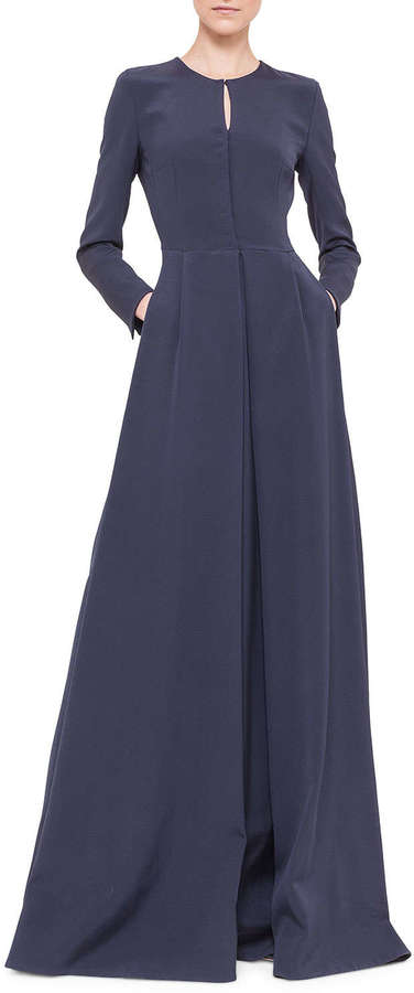 Akris Long Sleeve Silk Crepe Pleated A Line Gown Navy   Where to ...