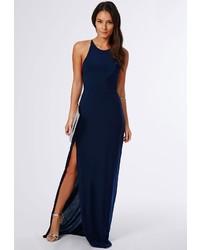 Missguided Slinky Side Split Maxi Dress Navy