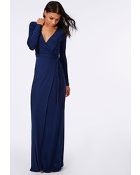 Missguided Slinky Wrap Front Maxi Dress Navy