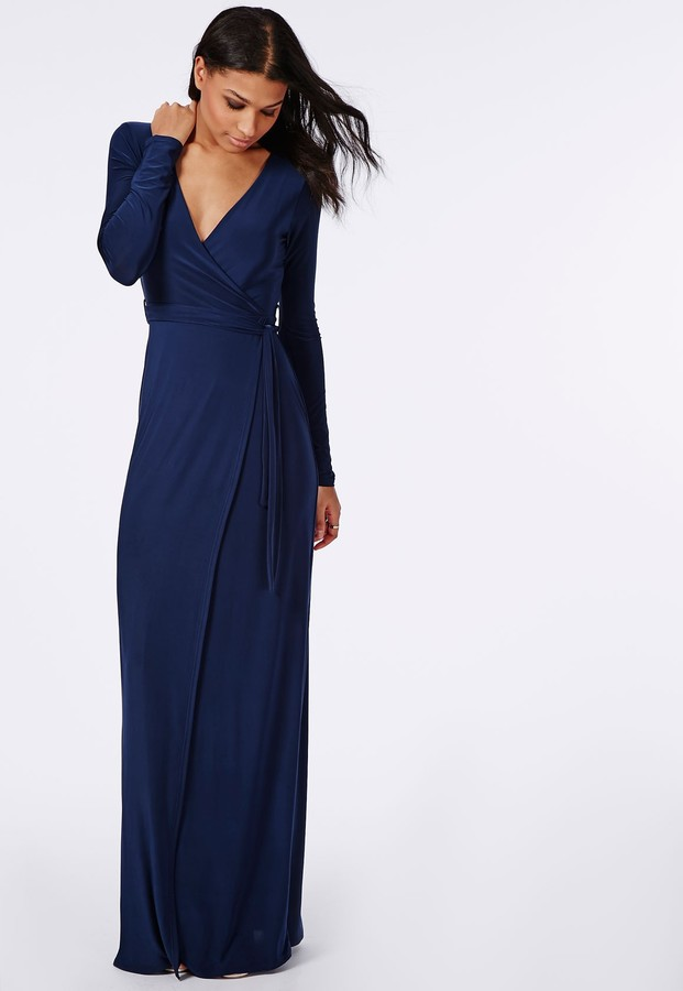 Missguided Slinky Wrap Front Maxi Dress Navy Where To Buy How To