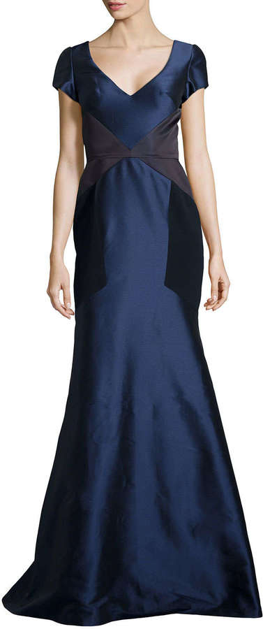 Theia Satin Trumpet Gown W Contrast Navy | Where to buy & how to wear