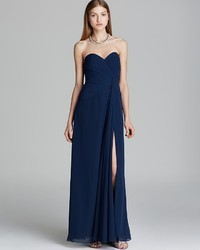 Faviana Strapless Gown High Slit