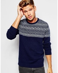 Asos Brand Lambswool Rich Sweater With Placet Fairisle