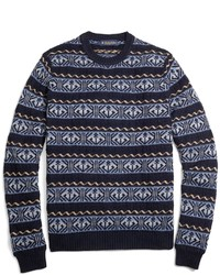 Brooks Brothers Fair Isle Anchor Crewneck Sweater