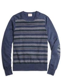 Brooks Brothers Fair Isle Stripe Crewneck Sweater