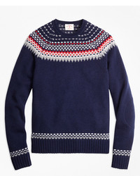 Brooks brothers nordic fair isle crewneck sweater medium 891889