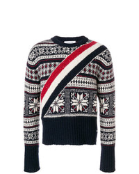 Thom Browne Diagonal Stripe Winter Fair Isle Tweed Pullover