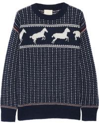 Band Of Outsiders Fair Isle Horses Wool Blend Sweater