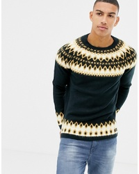 Tom Tailor Knitted Fairisle Jumper In Navy And Mustard