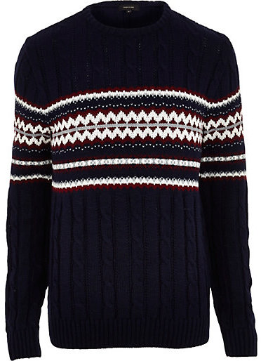River Island Navy Fair Isle Cable Knit Christmas Sweater | Where ...
