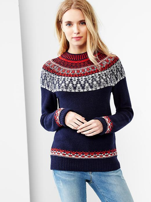 Gap Reverse Fair Isle Mockneck Sweater | Where to buy & how to wear