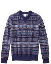 Mossimo Supply Co Pullover Crew Neck Sweater Navy Fair Isle