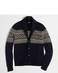 J.Crew Factory Factory Fair Isle Shawl Collar Cardigan Sweater