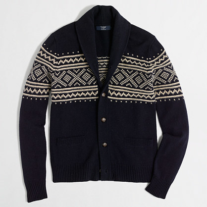 J.Crew Factory Factory Fair Isle Shawl Collar Cardigan Sweater ...