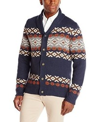 Haggar Fair Isle Pattern Shawl Collar Cardigan Sweater