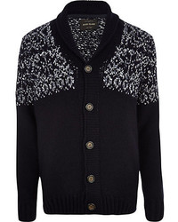 River Island Navy Fair Isle Yoke Shawl Collar Cardigan