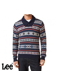 Navy Fair Isle Shawl-Neck Sweater