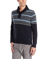 Nautica Fair Isle Shawl Sweater