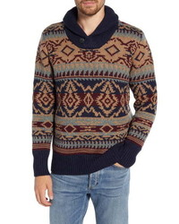 Schott NYC Shawl Button Wool Blend Sweater