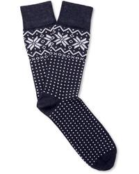 Navy Fair Isle Socks