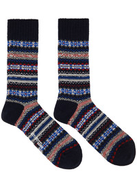 Junya Watanabe Navy Red Pattern Socks