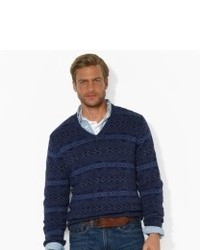 Navy Fair Isle V-neck Sweater