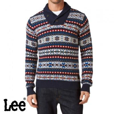 Lee Fair Isle Shawl Jumper Navy | Where to buy & how to wear