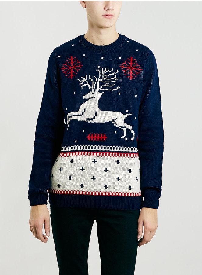topman navy reindeer christmas sweater - Reindeer Christmas Sweater