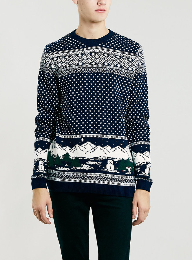 Topman Navy Snowman Scene Christmas Sweater | Where to buy & how ...
