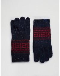 Jack Wills Lambswool Fairisle Gloves In Navy