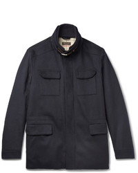 Loro Piana Leather Trimmed Storm System Stretch Cashmere Field Jacket