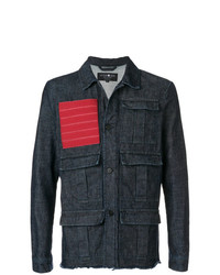 Hydrogen Red Patch Multipocket Denim Jacket