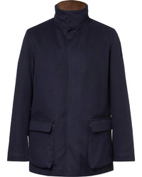Loro Piana Winter Voyage Suede Trimmed Storm System Baby Cashmere Field Jacket