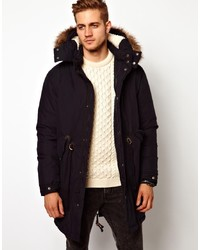 Asos Fishtail Parka With Down In Navy