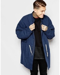 Asos Brand Hoodless Parka In Navy