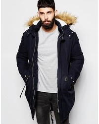 Asos Brand Parka With Faux Shearling Hood In Navy