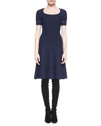 St. John Collection Ottoman Knit Fit And Flare Dress Navy