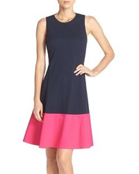 Eliza J Colorblock Hem Fit Flare Dress