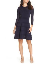 Vince Camuto Mix Stitch Pointelle Fit Flare Dress