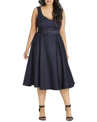 Plus size flirty flutter fit flare dress medium 4344333