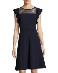 Neiman Marcus Ruffle Sleeve Fit Flare Dress Navy