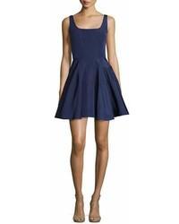 Monique Lhuillier Sleeveless Silk Faille Fit Flare Dress Navy