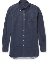 Drakes Drakes Button Down Collar Cotton Flannel Shirt