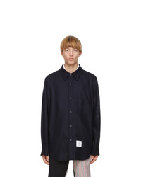 Thom Browne Navy Flannel 4 Bar Snap Front Shirt Jacket
