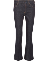 Prada Cropped High Rise Flared Jeans Dark Denim
