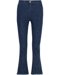 Etro Cropped Paisley Detailed High Rise Bootcut Jeans Blue