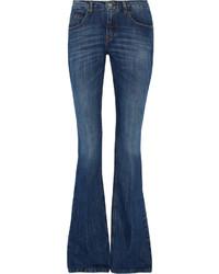 Victoria Beckham Denim Mid Rise Flared Jeans Dark Denim
